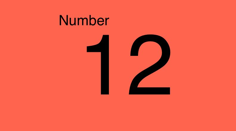 Grade 1 the number 12