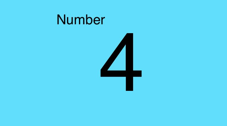 Grade 1 the number 4
