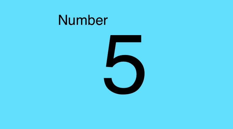 Grade 1 the number 5