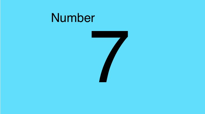 Grade 1 the number 7