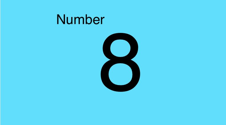Grade 1 the number 8